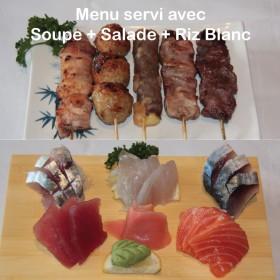Menu F Sashimi + Brochettes