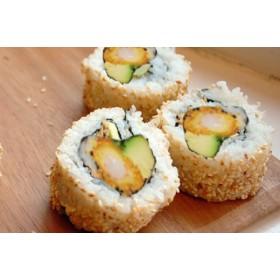 F11. 4 pièces Futomaki Oignon frit, crevette tempura, avocat